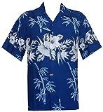 Hawaiian Chemises pour Homme en Bambou Arbre Imprimé Plage Aloha fête Vacances - Bleu - XX-Large