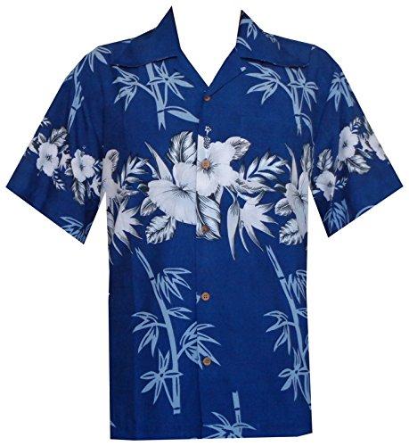 Alvish Hawaiian Shirts Herren Bambus Baum Print Strand Aloha Party Urlaub Gr. XXXX-Large, blau -