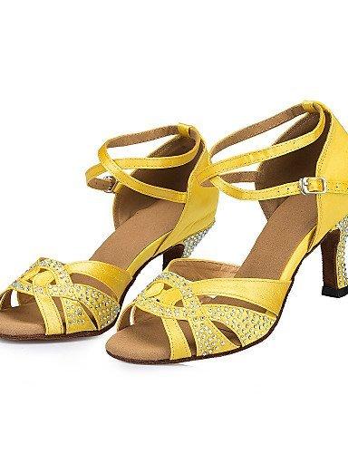 shangyi Femme Extérieur Satin Latin Dance de chaussures sandales talons hauts avec strass Jaune - Jaune