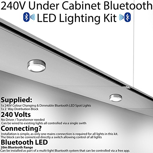 Preisvergleich Produktbild Bluetooth LED Küche Strahler – 3, 5 W Wireless Smart Home Farbwechsel & dimmbar unter Schrank Oberfläche / Nische montiert licht – stimmbar Warm / natur / kühles Weiß & auf / aus – WLAN Multi Zone Beleuchtung Steuerung über Smartphone / Tablet App