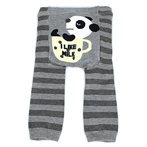 Dotty Fish Baby und Kleinkind Strickleggings. Leggings für Jungen und Mädchen. Graue Streifen mit Panda. Groß (24+ Monate) - Graue Wolle Hosen