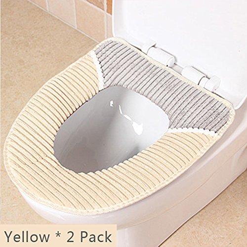 Sedile WC Copriwater Universale Cuscino in velluto a coste, Super caldo velluto a coste-Universale-lavabile in lavatrice Yellow * 2 Pack