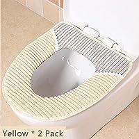 Sedile WC Copriwater Universale Cuscino in velluto a coste, Super caldo velluto a coste–Universale–lavabile in lavatrice Yellow * 2 Pack