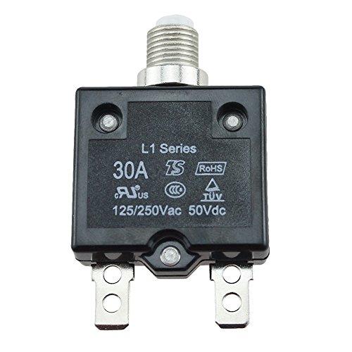 er Panel Mount Air Switch zurücksetzbar Thermo Sicherungshalter Inline Block für Auto Audio Solar Inverter System Schutz ()
