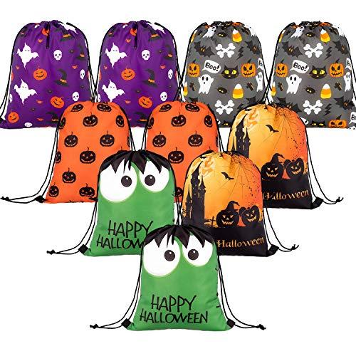 Whaline 10 Stück Halloween Kordelzug Große Süßes oder Saures Sack Geschenk Rucksack Candy Goodie Taschen für Halloween Party Favors Supplies