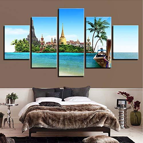 Leinwand HD Drucke Gemälde Wohnzimmer Dekor 5 Stücke Tropical Island Bilder Thailand Pattaya Poster Wandkunstleinwand -20x35/45/55cm,with frame