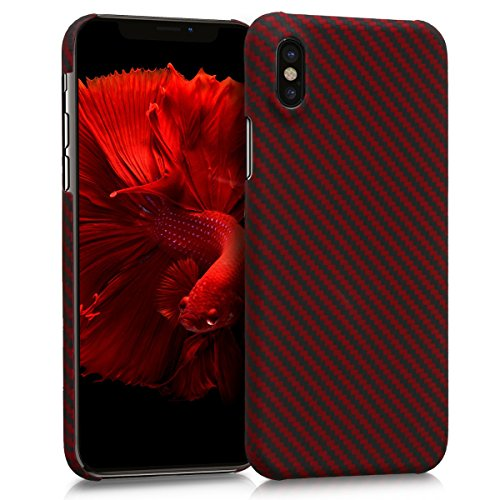 kalibri-Hlle-fr-Apple-iPhone-X-Handy-Schutzhlle-kugelsicheres-Backcover-Aramid-Cover-Rot-Schwarz