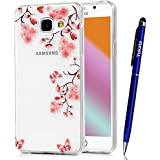 Coque Samsung Galaxy A5 / 2016, Yokata Case Transparente Motif Design Housse Kawaii Cartoon Étui Clair Soft Doux TPU Silicone Flexible Backcover Ultra Mince Crystal Coque + 1*Stylet - Fleur de Pêche