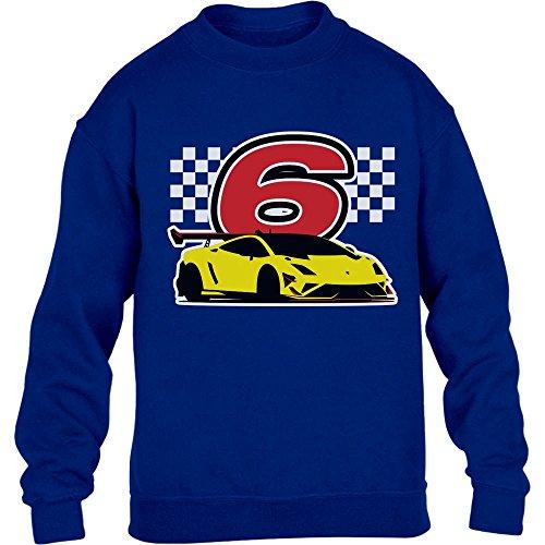 Geschenk für Jungs 6 Geburtstag mit Auto Kinder Pullover Sweatshirt XS 110/116 Blau -