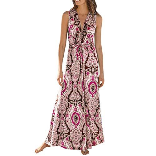 Damen Kleid Sweet & Cute Damen Sommer V-Ausschnitt Ärmellos Gedruckt Strand Lange Kleider Bohemian Party Kleider (Ninja-kleidung Zum Verkauf)