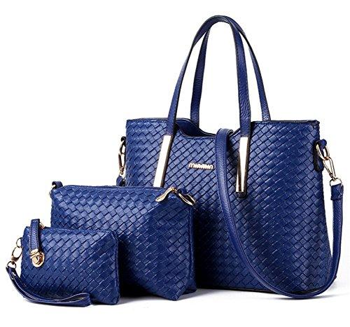 yaagle-fashion-pu-woven-grid-totes-shoulder-bag-with-handbag-purse-3pcs-for-women-girls