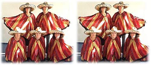 KarnevalsTeufel Sombrero Set Mexikanerhüte Mexikohut Strohot Sommerhut Verschiedene Sets Multipacks Mexico Mexikaner Spanien farbenfroh (10er Pack)