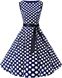 bbonlinedress 50s Retro Schwingen Vintage Rockabilly Kleid Faltenrock Navy White Big Dot S