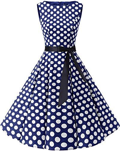 bbonlinedress 50s Retro Schwingen Vintage Rockabilly Kleid Faltenrock Navy White Big Dot XL