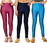Comix Imported Cotton Lycra Fabric Combo Set of 3 Women Shiny Leggings.