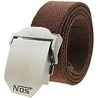 VANKER Nuevo Pretina de las correas de lona hebilla automática cinturón de cintura para hombres mujeres -- marrón