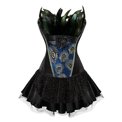 FeelinGirl Damen Gotik Corsagenkleid Bustier Vintage Korsage Corsage mit Rock Burlesque Petticoat Kostüme Pfau Pattern (Schwarze Und G-string Satin-bügel-bustier)