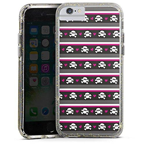 Apple iPhone 6 Bumper Hülle Bumper Case Glitzer Hülle Skull Pattern Punkte Bumper Case Glitzer gold