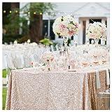 Nappe SoarDream à paillettes rectangulaires - De 127 x 203cm - Champagne - Pour mariages, Tablecloth-champagne, 50''X 80''