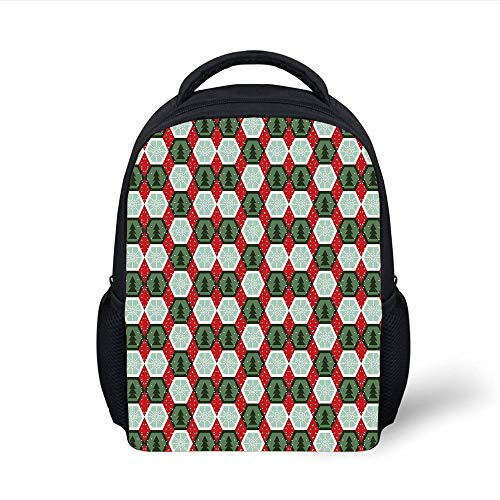 Kids School Backpack Geometric,Hexagon Shapes with Snowflake and Pine Tree Design Winter Themed,Reseda and Hunter Green Red Plain Bookbag Travel Daypack -