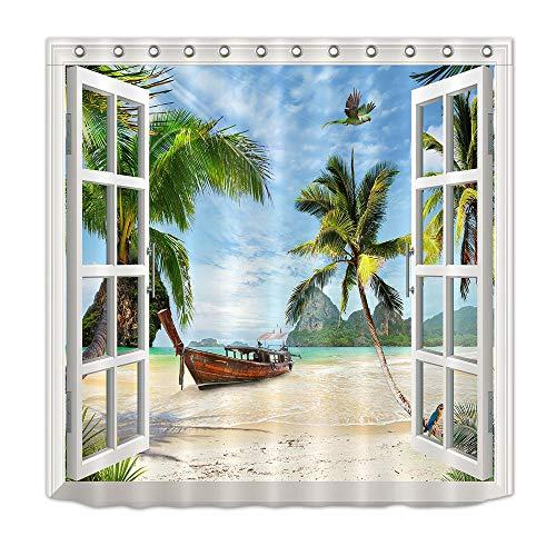 LB Ozean,Fenster,Boot,Vogel,Palmen,Strand_Wasserabweisend Anti-Mehltau Polyester Stoff Duschvorhang mit Haken 180W x 200 H cm -