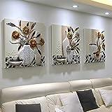 Pingofm Las imágenes decorativas tres del salón con ningún cuadro minimalista moderno sofá pintura abstracta imagen de fondo restaurante habitación fresca pequeña imagen colgantes Triple pintura decorativa,50*50,25mm