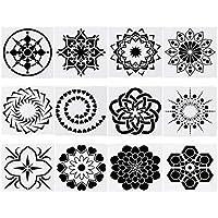 12pcs / Set Craft Mandala Auxiliar Plantilla Piedra Pintura Tarjeta de Papel Plantillas de Bricolaje álbum de Recortes álbum Arte Decorativo del Relieve