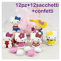 Idea Regalo - Sindy Bomboniere mkm200c Hello Kitty per Battesimo Cresima Comunione, 12pz+12 Sacchetti Rosa+Confetti, Resina, 4.5 x 3.5 x 4.5 cm
