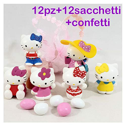 Sindy Bomboniere mkm200c Hello Kitty per Battesimo Cresima Comunione, 12pz+12 Sacchetti Rosa+Confetti, Resina, 4.5 x 3.5 x 4.5 cm