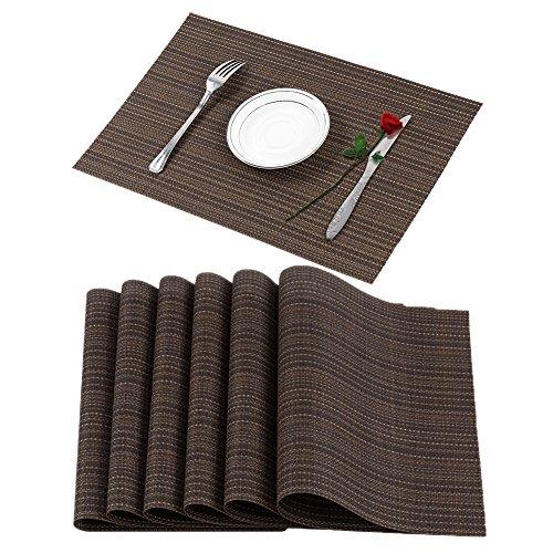 Famibay Patz-Matten Vinyl Platzsets Abwischbar Set von 6 Hitzebeständig PVC Tischsets rutschfest Platzdeckchen für Küche Speisetisch (Braun) (Tisch Matten Set 6)