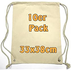 Pequeño Algodón mochila bolsa de tela bolsa de deporte bolsa de deporte para niños Guardería Infantil Escolar Deporte de enseñanza para pintar con cordón Natural 33x 38cm 10unidades)
