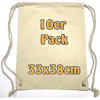 kleiner Baumwollrucksack Stoffbeutel Turnbeutel Sportbeutel für Kinder Kindergarten Schulkinder Sportunterricht zum Bemalen mit Kordelzug natur 33x38cm 10 Stück