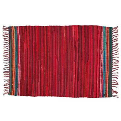 Mediterranean Red Recycled Rag Rug - inexpensive UK light shop.