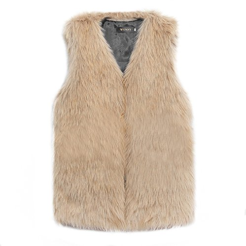 Vlunt - Chaleco para mujer, de pelo largo piel sintética beige marrón claro