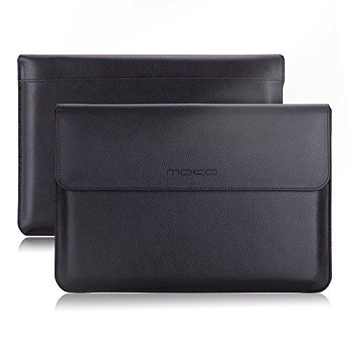"MoKo MacBook Air 11.6 Zoll Sleeve Hülle - PU Leder Laptop Tasche Nubuck Fibre Interior Notebooktasche Schutzhülle Aktentasche Wallet Case Leather Sleeve mit Karten-Slot für Macbook 11.6"", Schwarz"
