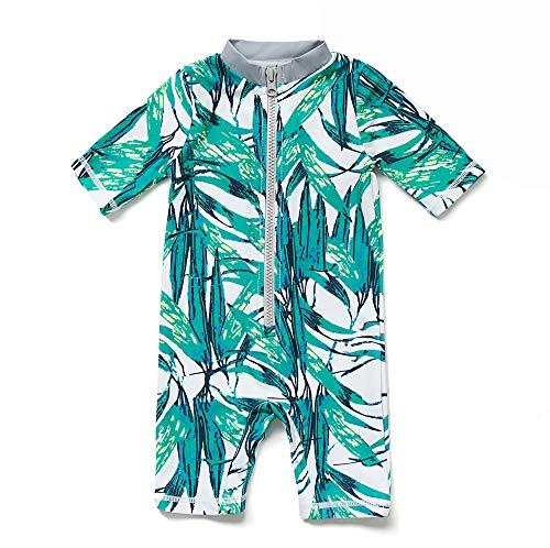 Baby Junge EIN stück Kurzärmel-Kleidung UV-Schutz 50+ Badeanzug MIT Einem Reißverschluss(Grüne-Die Blätter,3-6M)