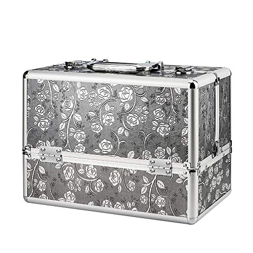 AMASAVA Beauty Case da Viaggio,Cofanetto Trucco,valigia Trucco, Caso Cosmetici,36 x 21.5 x 25.5 cm, in alluminio ABS, con Serratura,4 vassoi, Argento-marrone+Rosa (Silver)