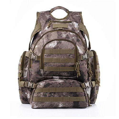 YAKEDA® Neueste Art taktischer Rucksack mit Molle Gurtband Rucksack Tasche-Multifunktions Tactical Bag - BK27 (Braun) camouflage