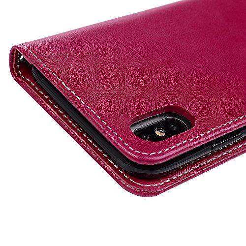 MAXFE.CO Schutzhülle Tasche Case für iPhone X PU Leder Flip Tasche Cover Prägung Schmettrling Muster im Ständer Book Case / Kartenfach Rose Gold Rot