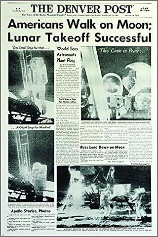 historical astronaut moon landing poster NEWSPAPER HEADLINE 24X36 journalism
