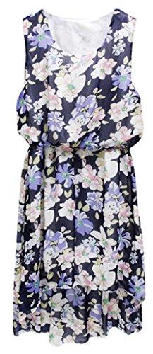 sexylady - Robe - Robe - À Fleurs - Sans Manche - Femme - flower navy blue