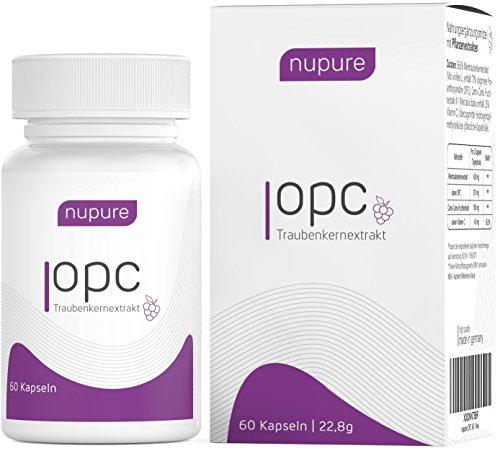 Nupure OPC Traubenkernextrakt Hochdosiert Plus Natürliches Vitamin C - Made In Germany (1 Monatsvorrat)