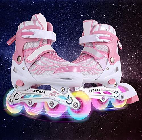 Hiriyt Leucht PU Räder Inline-Skates, Rollerblades für Kinder, größenverstellbar von 31 bis 42, ideal für Anfänger, komfortable Rollschuhe, Inliner für Mädchen und Jungen (Rosa, EU 31-34) (Skate Inline Für Mädchen)