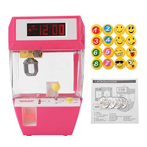 Cocoarm Creative Candy Grabber Süßigkeitengreifer Wecker mit LCD Anzeigen Greifmaschine Elektronisches Crane Claw Spiel mit 4 Stücke Spielzeugmünzen und 16 Stück Bällen Geschenk für Kinder (Rosenrot)