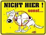 empireposter Hund nicht hier sonst - Blech-Schild Blechschild mit Spruch, 4 Saugnäpfe - Grösse 22x17 cm