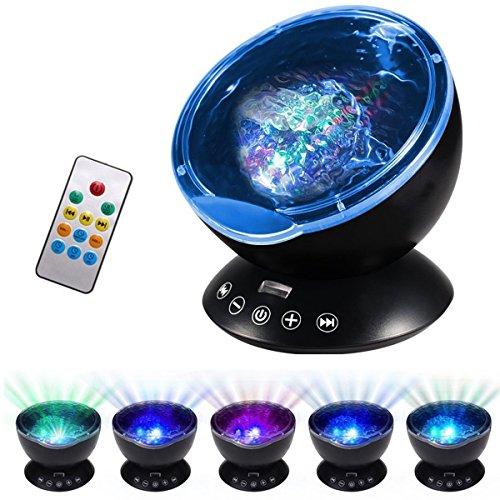 Ocean Wave Projektor mit Fernbedienung ALED Licht Night Projektor mit integrierter HD Musik Player 7Farben wechselnden Modi Nacht Lampe für Schlafzimmer/Baby Kinderzimmer/Wohnzimmer