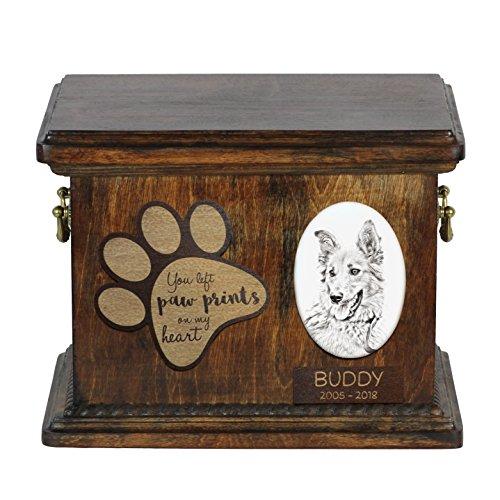 ArtDog Ltd. Baskischer Schäferhund, Urne für Hundeasche mit Keramikplatte und Beschreibung