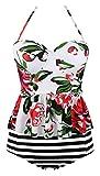 Angerella Vintage Cute Floral Print Ruffles Tankini Top Slim Waist Stripe Bikini Set Weiß