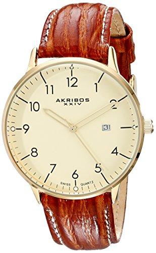 Akribos XXIV da uomo Swiss-Orologio da donna al quarzo, in acciaio INOX, cinturino in pelle, colore: marrone