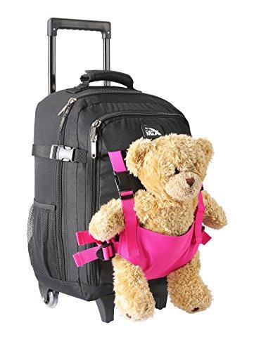Cabin Max Bear, trolley da viaggio per bambini, con cinghie esterne per bambole/peluche (Nero e Rosa)